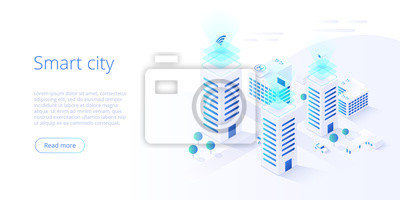 Plakat Smart city or intelligent building isometric vector concept. Building automation with computer networking illustration. Management system or BAS  background. IoT platform as future technology.