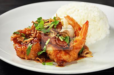 Plakat Smażone krewetki w sosie z tamaryndowca - Thai Food