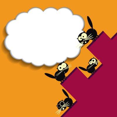 Plakat Śmieszne koty na dachu. Wektor