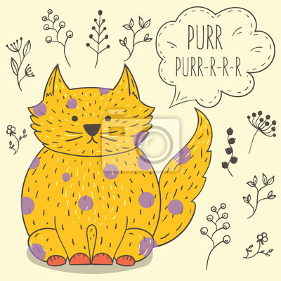 Śmieszne kreskówki kot, ilustracji strony rysunku.