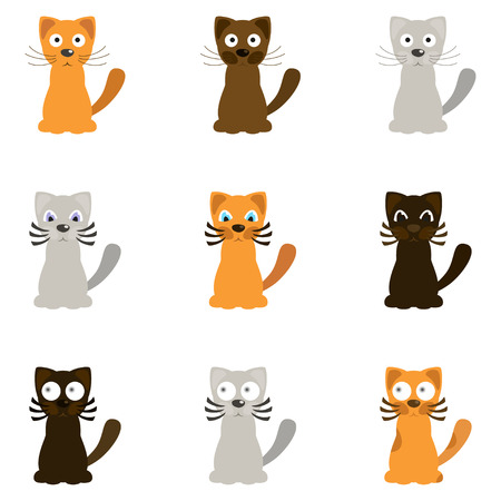Śmieszni kreskówka koty, wektorowa ilustracja