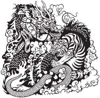 Plakat Smok i tygrys walczyć czarny biały