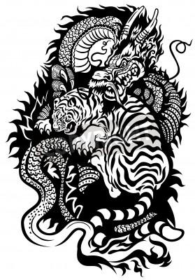 Plakat Smok I Tygrys Walki Tatuaż Czarno Białych Ilustracji Na