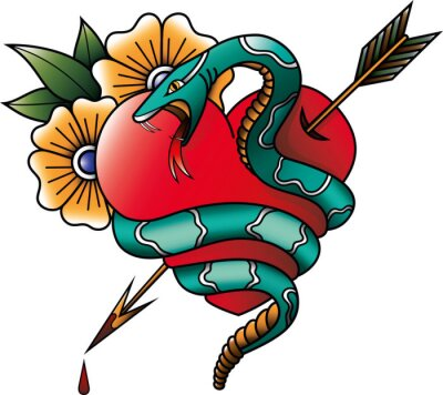 Plakat Snake and heart tattoo
