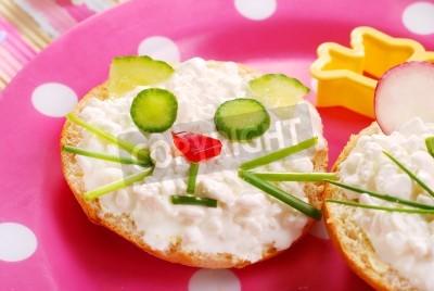 śniadanie Dla Dziecka Z Kanapki W Kształcie Kota Plakaty Redro