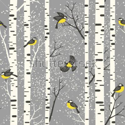 Plakat Śnieżni brzoz drzewa, ptaki na szarym tle i. Połączony wektor wzór. Idealny do tkanin, tapety, giftwrap lub pocztówek.