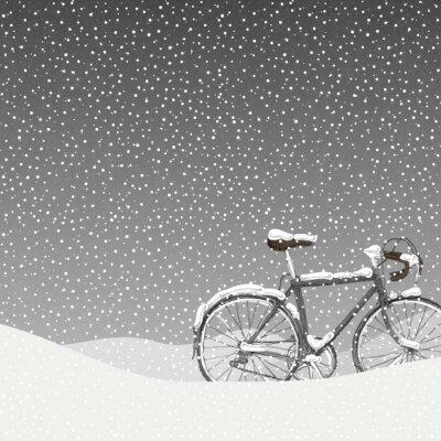 Plakat Snow Covered Ilustracja rowerów, Calm Winter Scene
