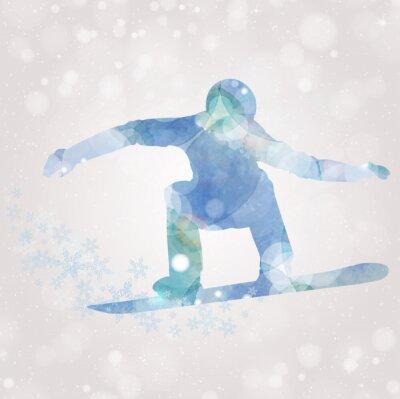 Plakat Snowboarder sylwetka akwarela