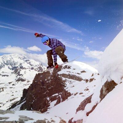 Plakat Snowboarder w niebie