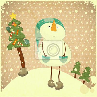 Plakat Snowman i Choinka