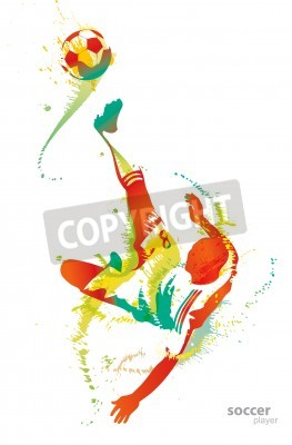 Plakat Soccer player kicks the ball.