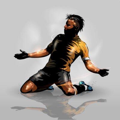 Plakat soccer player scoring goal