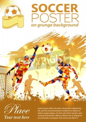 Plakat Soccer Poster with Players and Fans on grunge background, vector illustration