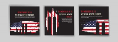 Plakat Social media post template to commemorate the September 11 attacks. Patriot day USA Never forget 9/11 poster.