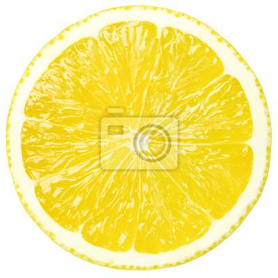 Plakat Soczysty żółty plasterka cytryny, ścieżkę przycinającą, białe tło, izolowane