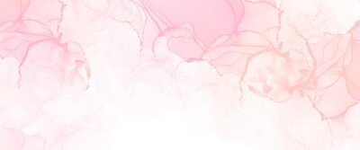 Plakat Soft and delicate abstract alcohol ink illustration with liquid texture, modern wallpaper art for print with pink accent