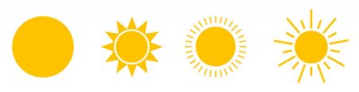 Plakat Solar icons. Set of sun images on a white background. Solar symbols.Vector