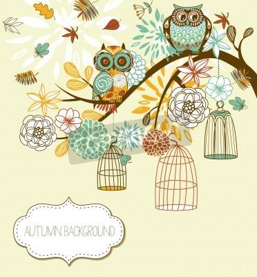 Plakat Sowa jesień tle kwiatów. Sowy z ich koncepcji klatek wektor