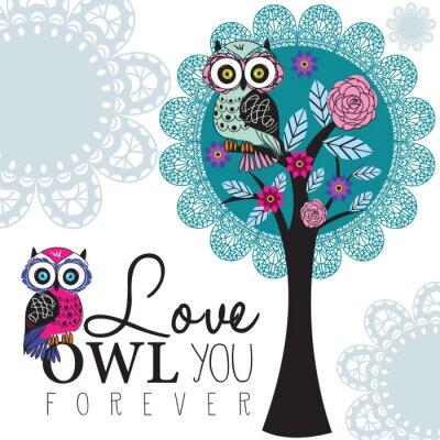 Plakat sowa na ilustracji wektorowych drzewa koronki