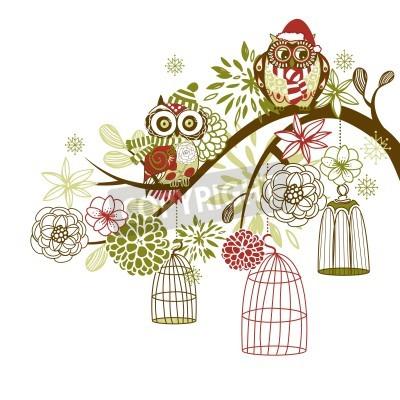 Plakat Sowa zimowego kwiatów. Sowy z ich koncepcji klatek wektor