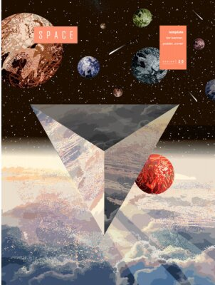 Plakat Space and science fiction. Vector illustration of a space flying triangular object. Geometric UFO, Mars, Earth, stars and planets in cosmos. Spaceship with aliens.