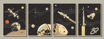 Plakat Space Astronautics Posters, Astronaut, Spacecraft, Rockets, Planets, Asteroid, Retro Style
