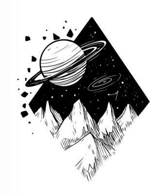 Plakat Space landscape.Galaxy scene. Black vector illustration with transparent background. Great for print, tattoo flash