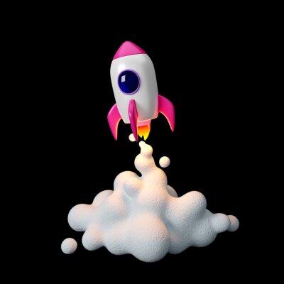 Plakat Space rocket launch. 3d render