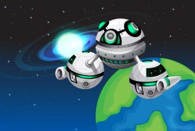 Plakat Spaceship pływające w przestrzeni