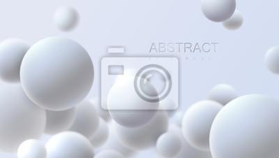 Plakat Spadające białe miękkie kule. Realistyczna ilustracja wektorowa. Abstrakcjonistyczny tło z 3d geometrycznymi kształtami. Nowoczesny projekt okładki. Szablon banera reklamowego. Dynamiczna tapeta z kul