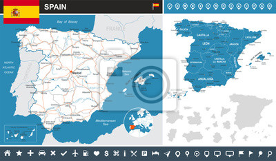 Plakat Spain - infographic map and flag - highly detailed vector illustration