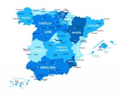 Plakat Spain map. Cities, regions. Vector