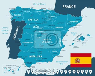 Plakat Spain - map, flag and navigation labels -highly detailed vector illustration