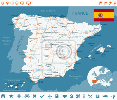 Plakat Spain - map, flag, navigation labels, roads -highly detailed vector illustration