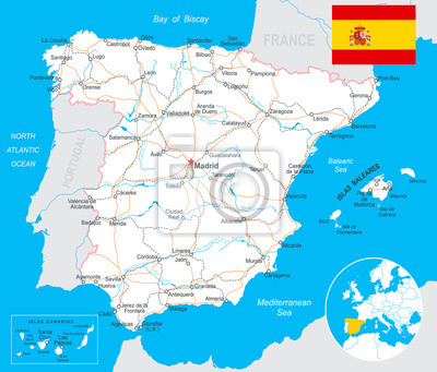 Plakat Spain - map, flag, navigation labels, roads- highly detailed vector illustration