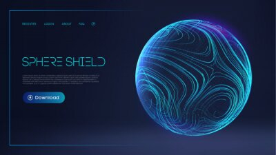 Plakat Sphere shield protect in abstract style. Virus protection bubble. Sphere lines technology background. Magic orb vector illustration.