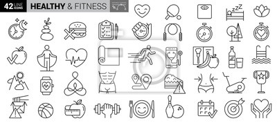 Plakat Sport and fitness - minimal thin line web icon set. Outline icons collection. Simple vector illustration