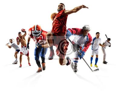 Plakat Sport collage bokserskie futbol amerykański piłka nożna koszykówka baseball lód hokej itp