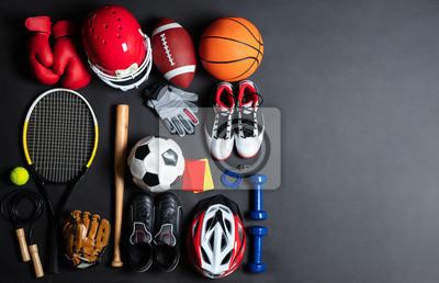Plakat Sport Equipment On Black Background