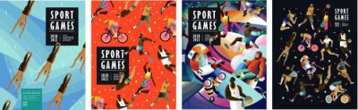 Plakat Sport games! Vector illustrations of athletes, swimmers, hockey player, jumper, runner, volleyball, basketball player, soccer player, cyclist, tennis player for poster, banner or cover design.