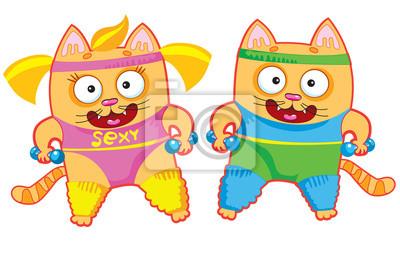sport śmieszne koty z kreskówek. ilustracji wektorowych