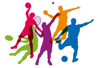 Plakat Sport - sportif - tenis - piłka nożna - koszyk - rugby - piłka ręczna - sylwetka - affiche