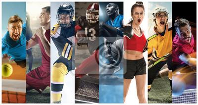 Plakat Sportowe kolaż o piłce nożnej, futbolu amerykańskim, koszykówce, tenisie, boksie, hokeju na lodzie i polowe, tenis stołowy