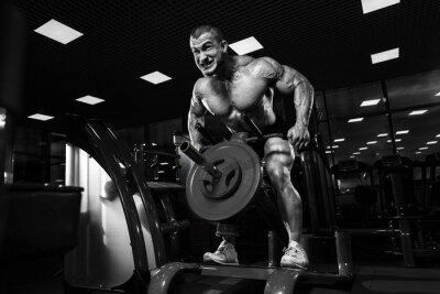 Plakat Sportowiec mięśniowy kulturysta w szkoleniu siłowni powrotem z T-bar