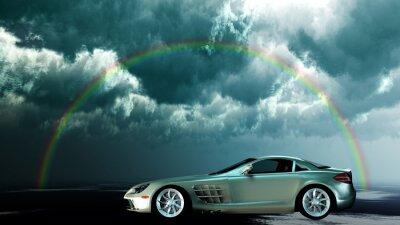 Plakat Sportwagen unter einem Regenbogen