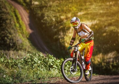 Plakat Sporty ekstremalne - młoda kobieta jazdy downhill rower