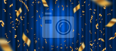 Plakat Spotlight on blue curtain background and falling golden confetti. Vector illustration.