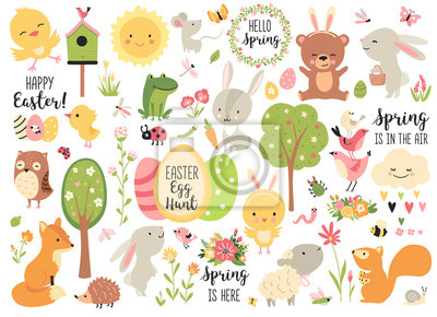 Plakat Spring and Easter collection of cute animals, flowers and decorations. Perfect for poster, card, scrapbooking , tag, invitation, sticker kit. Hand drawn vector illustration.