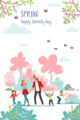 Plakat Spring. Family day. Cute poster of spring time, vector drawn illustrations of a happy family in nature