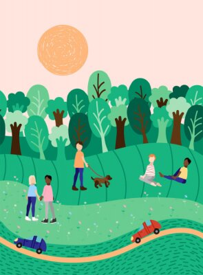 Plakat Spring or summer landscape background with people outdoor activities, hand drawn illustration